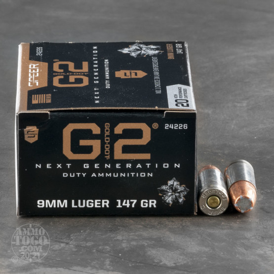 20rds – 9mm Speer Gold Dot G2 147gr. JHP Ammo