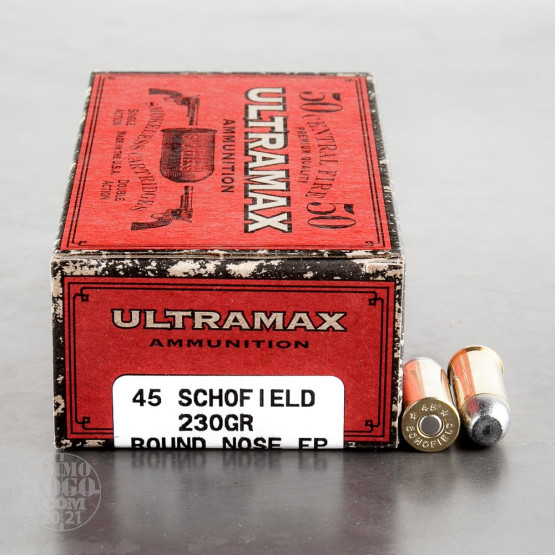 50rds - 45 Schofield Ultramax 230gr. Round Nose Flat Point Ammo