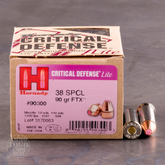 25rds - 38 Special Hornady Critical Lite Defense 90gr. FTX Ammo
