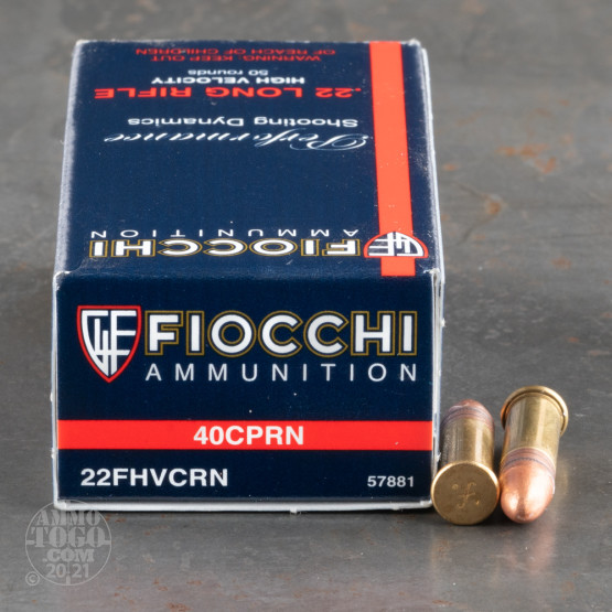 50rds - 22LR Fiocchi HV 40gr. Copper Plated Solid Point Ammo