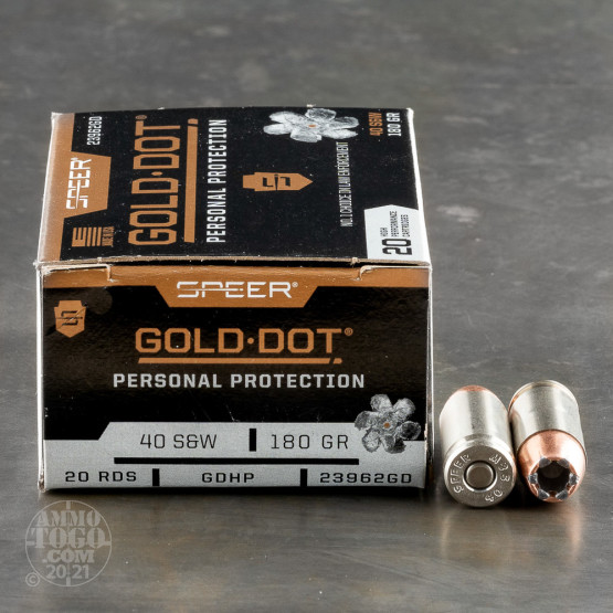 20rds – 40 S&W Speer Gold Dot 180gr. HP Ammo