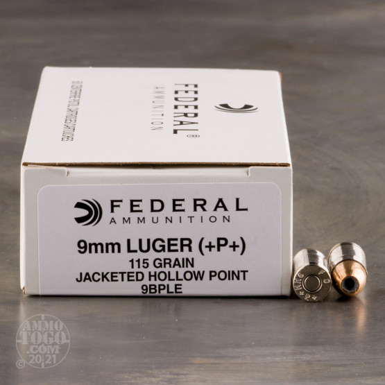 50rds - 9mm Federal LE 115gr. +P+ Hollow Point Ammo