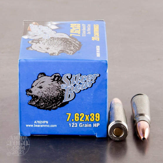 500rds - 7.62x39 Silver Bear 123gr. Hollow Point Ammo