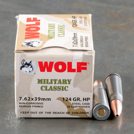 20rds - 7.62x39 WPA Military Classic 124gr. HP Ammo