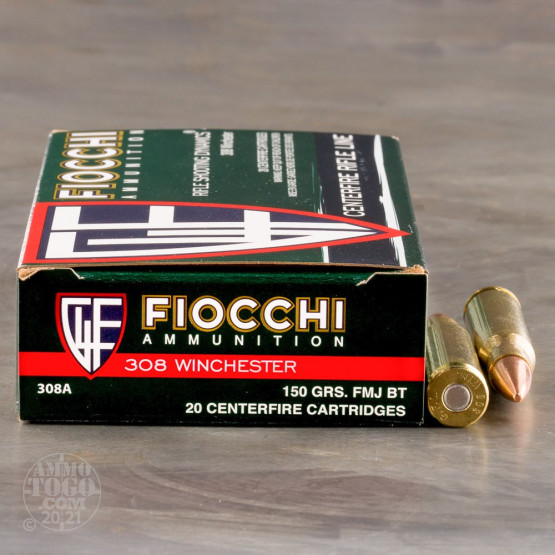 20rds - 308 Fiocchi 150gr. Full Metal Jacket Ammo