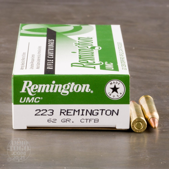20rds – 223 Rem Remington UMC 62gr. Closed Tip Flat Base Ammo
