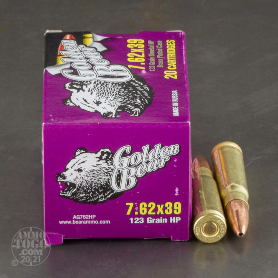 500rds - 7.62x39 Golden Bear 123gr. Hollow Point Ammo