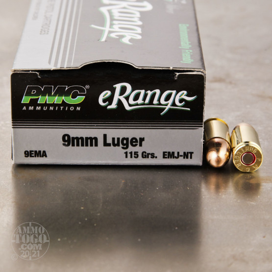 50rds - 9mm PMC 115gr Encased Metal Jacket Non-Toxic Ammo