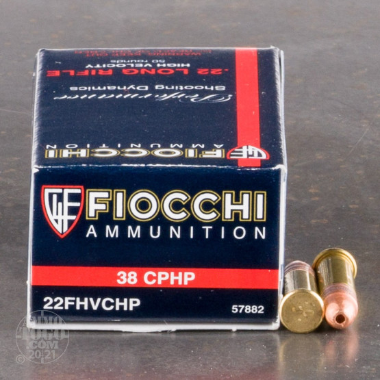 50rds - 22LR Fiocchi 38gr. Copper Plated Hollow Point Ammo