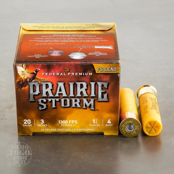 "25rds – 20 Gauge Federal Prairie Storm FS Lead 3"" 1-1/4oz. #4 Shot Ammo"