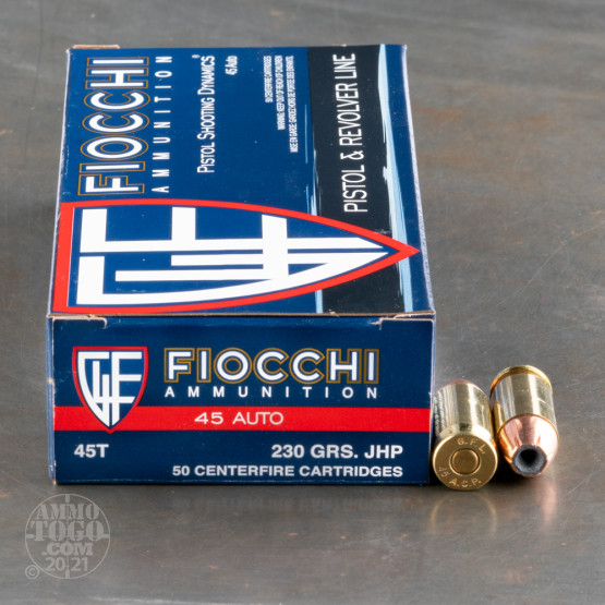 50rds - 45 ACP Fiocchi 230gr. Jacketed Hollow Point Ammo