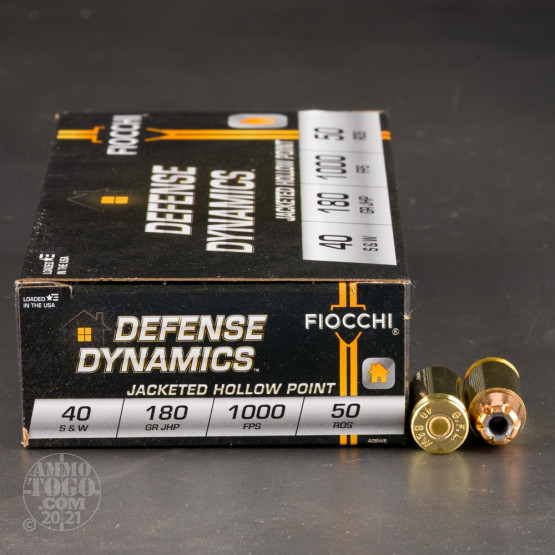50rds - 40 S&W Fiocchi 180gr Jacketed Hollow Point