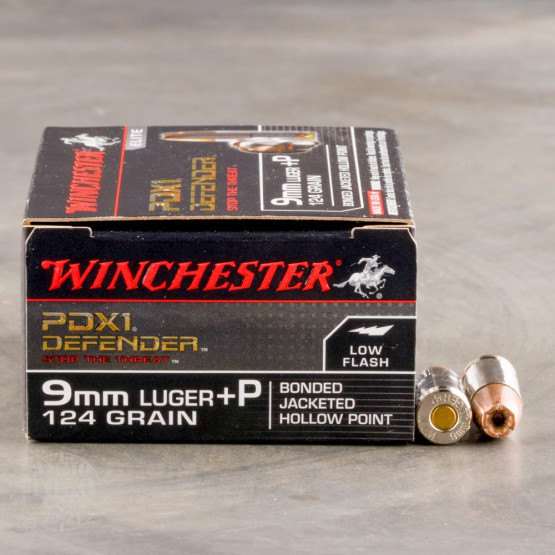 20rds – 9mm +P Winchester Defender 124gr. PDX1 Bonded JHP Ammo