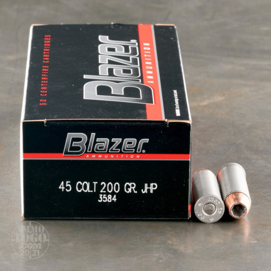 50rds - 45 Long Colt CCI Blazer 200gr. Jacketed Hollow Point Ammo