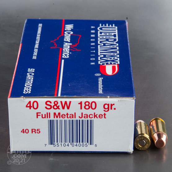 50rds - 40 S&W Ultramax Remanufactured 180gr. FMJ Ammo