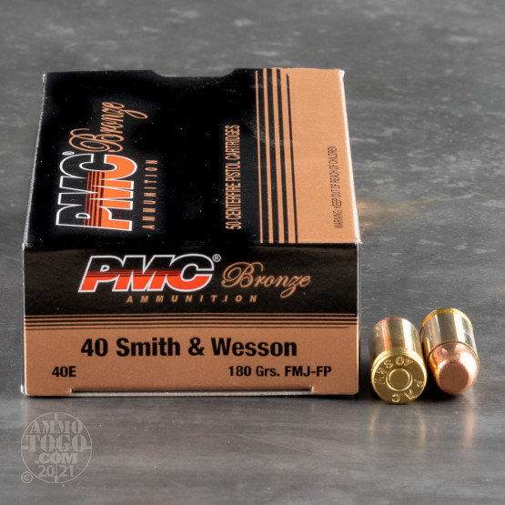 50rds - 40 S&W PMC 180gr. FMJ Ammo