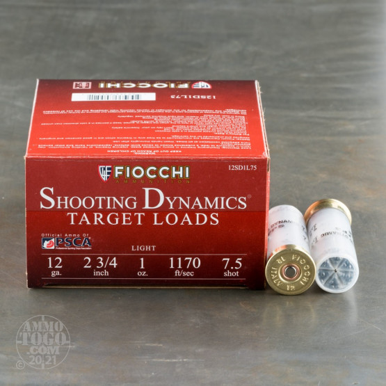 "25rds - 12 Gauge Fiocchi Light Target Shooting Dynamics 2 3/4"" 1oz. #7 1/2 Shot Ammo"