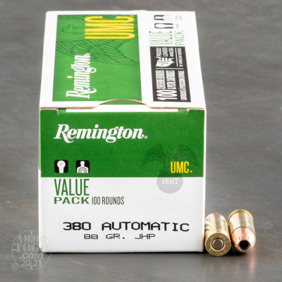 100rds - 380 Auto Remington UMC 88gr. Jacketed Hollow Point Ammo