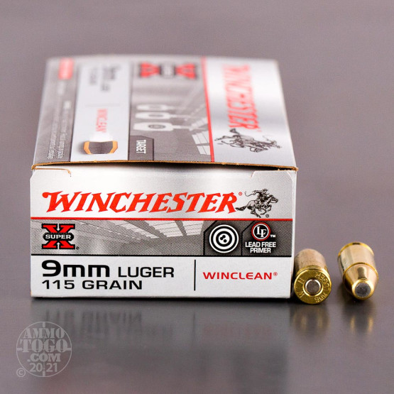 50rds - 9mm Winchester WinClean 115gr. Brass Enclosed Base (BEB)