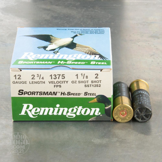 "250rds - 12 Gauge Remington Sportsman Hi-Speed Steel 2 3/4"" 1 1/8oz. #2 Shot Ammo"