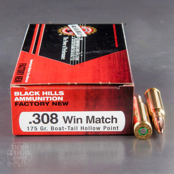 500rds - 308 Black Hills 175gr. Match Boat-Tail Hollow Point Ammo