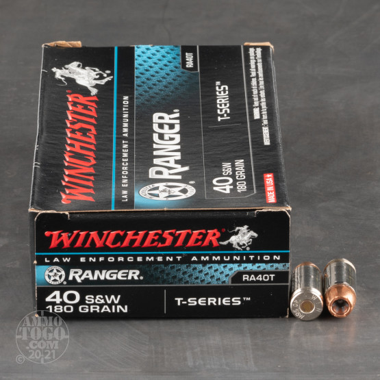 50rds – 40 S&W Winchester Ranger T-Series 180gr. JHP Ammo - Law Enforcement Trade-In