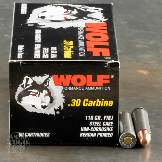 50rds - .30 Carbine Wolf FMJ Ammo