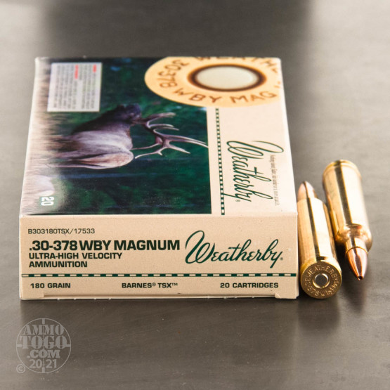 20rds - 30-378 Weatherby Mag. 180gr. Barnes TSX Hollow Point Ammo