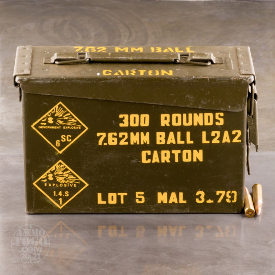 300rds - 7.62x51 Malaysian Military Surplus Ammo In Steel Ammo Can 146gr. FMJ Ammo