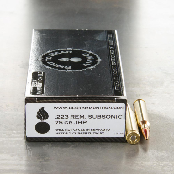20rds - 223 Right To Bear Subsonic 75gr. JHP Ammo