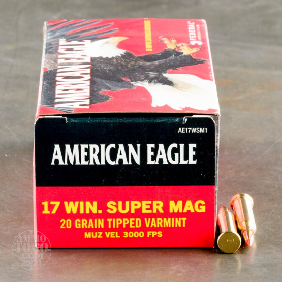 50rds - 17 Win Super Mag Federal American Eagle 20gr. Polymer Tip Ammo