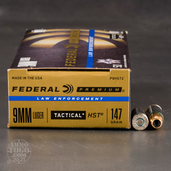 50rds - 9mm Federal LE Tactical HST 147gr. HP Ammo