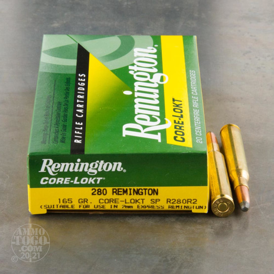 20rds - 280 Remington 165gr. Core-Lokt Soft Point Ammo