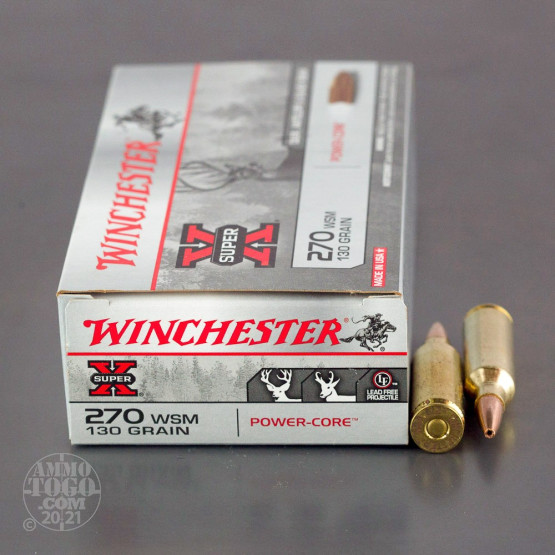20rds - 270 WSM Winchester Super-X 130gr. Power-Core Lead Free HP Ammo