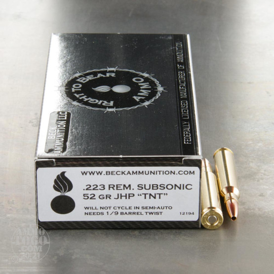 20rds - 223 Right To Bear Subsonic 52gr. JHP TNT Ammo