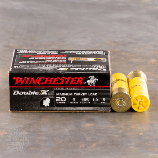 "10rds - 20 Gauge Winchester Supreme Double X 3"" 1 1/4oz. #5 Turkey Ammo"