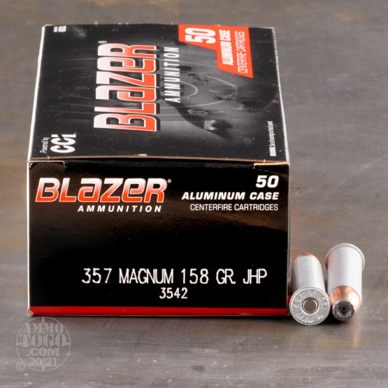 50rds - 357 Magnum CCI Blazer 158gr. Jacketed Hollow Point Ammo