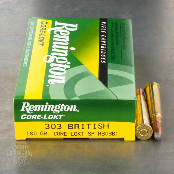 20rds - 303 British Remington 180gr. Core-Lokt SP Ammo