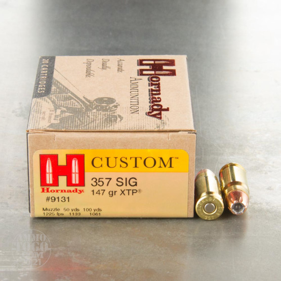 20rds - 357 Sig Hornady 147gr. XTP Hollow Point Ammo