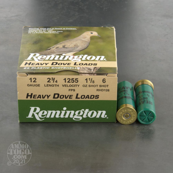 "25rds - 12 Gauge Remington Heavy Dove Loads 2 3/4"" 1 1/8oz. #6 Shot Ammo"