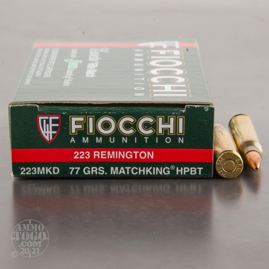 200rds - 223 Rem Fiocchi 77gr. MatchKing Hollow Point Ammo
