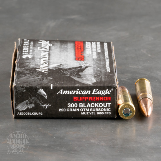 20rds – 300 AAC Blackout Federal American Eagle Suppressor Subsonic 220gr. OTM Ammo