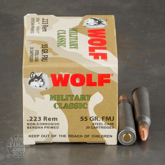 500rds - 223 WPA Military Classic 55gr. FMJ Ammo