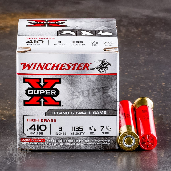 "25rds – 410 Gauge Winchester Super-X High Brass 3"" 11/16oz. #7.5 Shot Ammo"