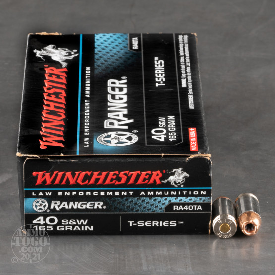 50rds – 40 S&W Winchester Ranger T-Series 165gr. JHP Ammo - Law Enforcement Trade-In