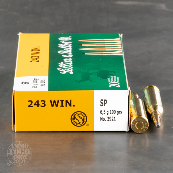 20rds – 243 Win Sellier & Bellot 100gr SP Ammo