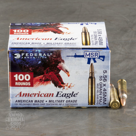100rds - 5.56 Federal Lake City XM193BL 55gr. FMJ Ammo