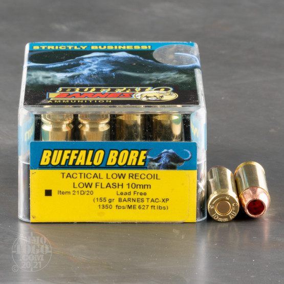 20rds - 10mm Buffalo Bore 155gr. Barnes TAC-XP HP Ammo