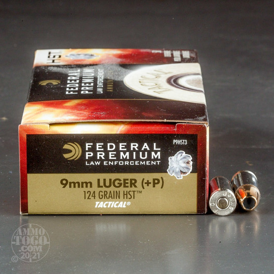 50rds - 9mm Federal LE Tactical HST 124gr. +P HP Ammo