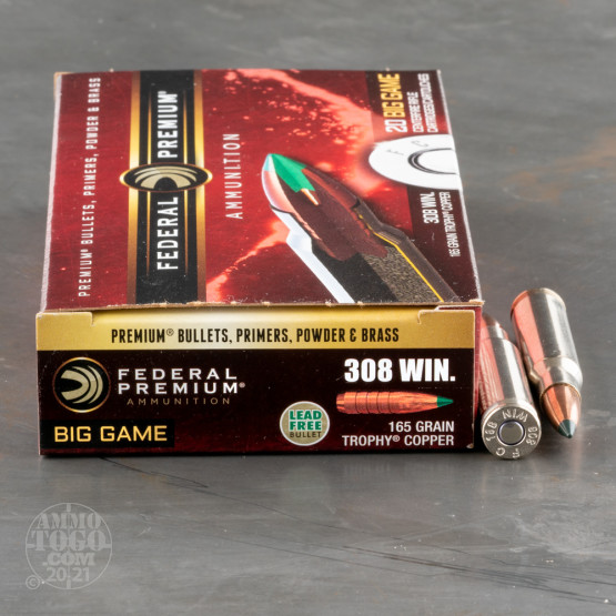 20rds – 308 Win Federal 165gr. Trophy Copper Ammo